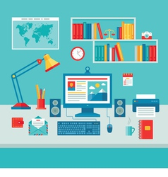 Home Business Office Workplace - flat style vector image