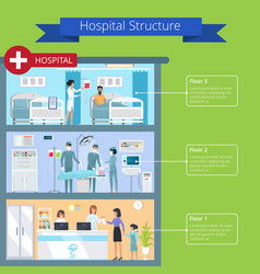 Hospital structure and floors vector