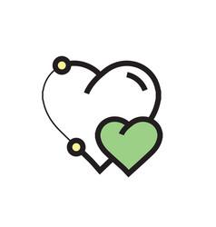 Icon heart pen tool style design green vector