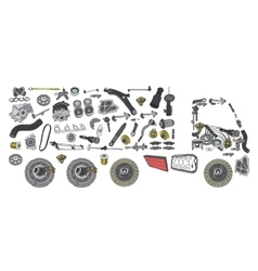 Images truck assembled from spare parts vector