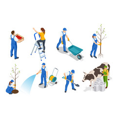 isometric set farmers or agricultural workers vector image