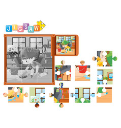 jigsaw pieces for boy cleaning floor vector image