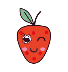 Kawaii cute happy strawberry fruit vector