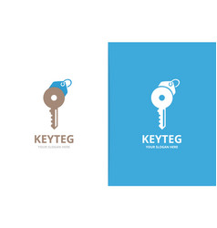 key and tag logo combination unique house vector image