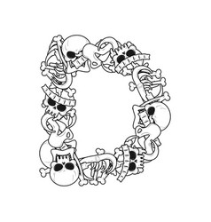 Letter d skeleton bones font anatomy of an vector