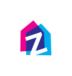letter z house home overlapping color logo icon vector image