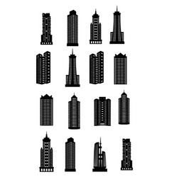Line buildings icons city building hotel vector