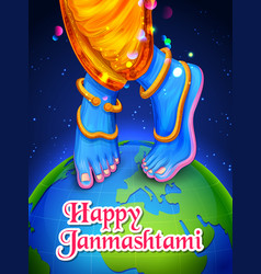 lord krishna in happy janmashtami festival vector image