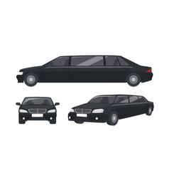luxury black limousine isolated on white vector image