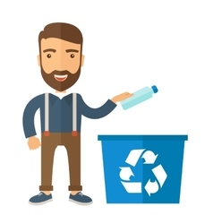 Man throwing plastic container into recycle can vector image