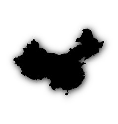 Map of china with shadow vector