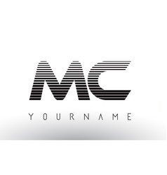 Mc black and white horizontal stripes letter logo vector
