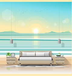 modern bedroom with tropical beach wallpaper vector image