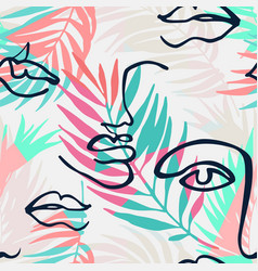 modern continuous line art faces triangles palm vector image