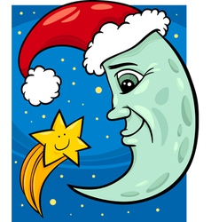 moon and star christmas cartoon vector image