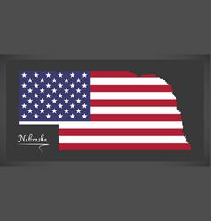 nebraska map with american national flag vector image