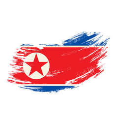 North korean flag grunge brush background vector