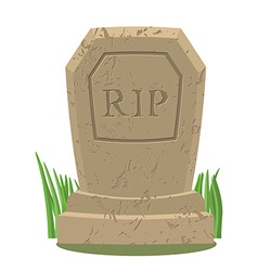 Old gravestone with cracksTomb on white background vector image