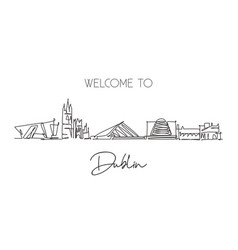 one continuous line drawing dublin city vector image