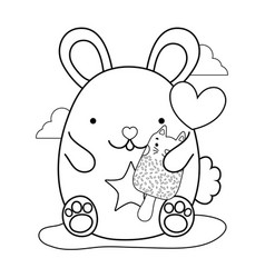 outline cute mouse and kawaii cat ice lolly vector image