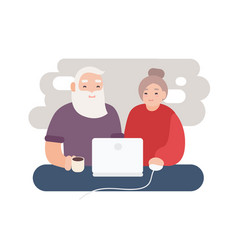 pair smiling elderly man and woman surfing vector image
