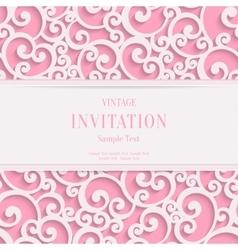 pink 3d vintage valentines or invitation vector image