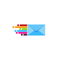 pixel art mail logo icon design vector image