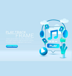 play music smartphone mobile screen technology vector image