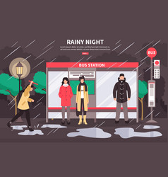 Rainy weather bus stop vector