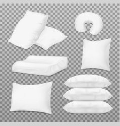 Realistic white pillows orthopedic bed cushions vector