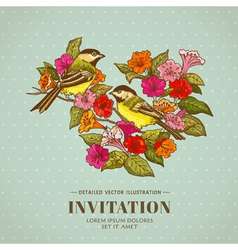 Retro Background - Flowers and Birds vector image vector image