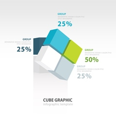 Rotate cube infographic template vector