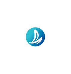 Sail boat yacht ocean logo vector