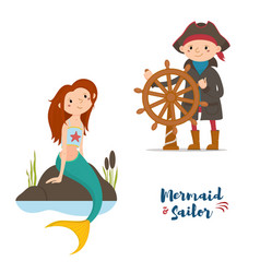 Sailor captain and mermaid kids vector