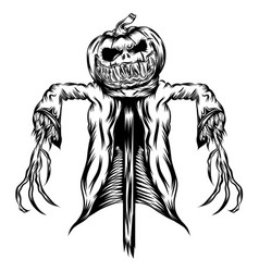 scarecrow with jacket in straw vector image