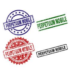 Scratched textured perpetuum mobile stamp seals vector