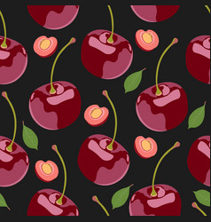 seamless pattern cherry fruits fresh organic vector image