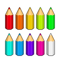 set colored pencils vector image