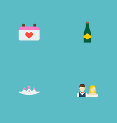 set of marriage icons flat style symbols with just vector image