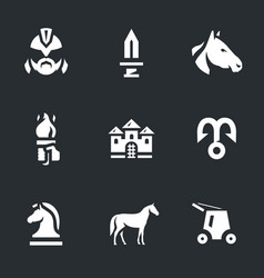 set of trojan horse icons vector image