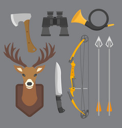 Set of vintage hunting symbols camping objects vector