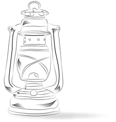 Sketch old kerosene lamp vector image