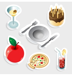 Sticker icon set for food and drinks vector