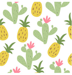 summer print with pineapple and cactus vector image
