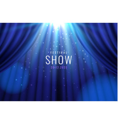 theater blue curtain with lights as show banner vector image