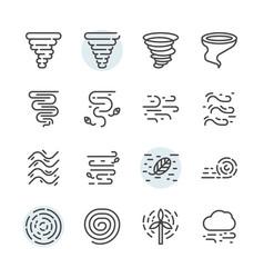 Tornado icon and symbol set in outline design vector