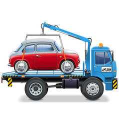 Tow truck with automobile vector
