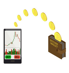 Transfer bitcoin coins in the electronic wallet vector