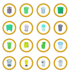 Trash bin set icon circle vector