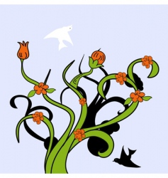 tree with bird vector image